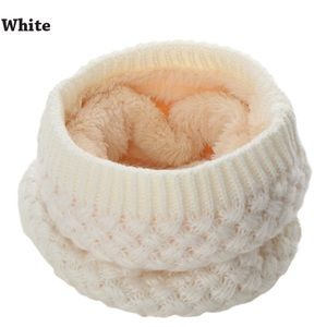 Accessories - White Knitted Ring Scarf Lined w/ Thick Fleece
